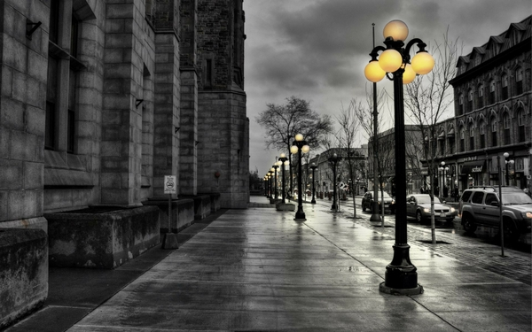 black and white nature yellow walk street lights selective coloring_wallpaperswa.com_2